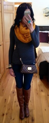 Yellow scarf, grey sweater and brown riding boots