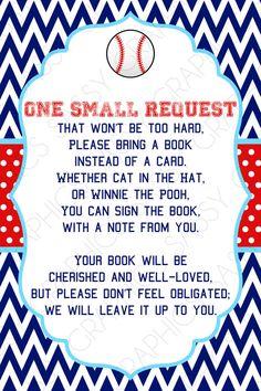 Boys Baby Shower Bring a Book Insert Card  Baseball by Sassygfx, $5.00