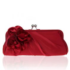 4183cf62f5d Dark Red Flower Satin Clutch Purse for Special Occasion. Gucci Purses ...