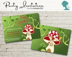 Toadstool Fairy Garden Party Invitation $10AUD by The Digi Dame Printable Party Decor. Visit thedigidame.com to purchase!