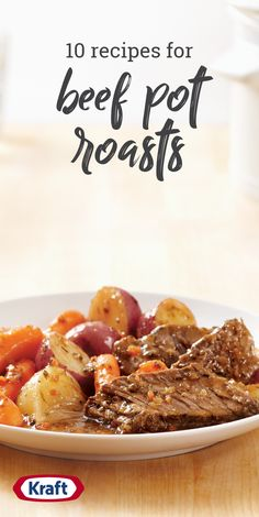Enjoy the aroma of a pot roast braising its way to deliciousness! Here are traditional beef pot roast recipes, slow-cooker versions, sides and more. Kraft Dinner Recipes, Delicious Dinner Recipes, Easy Healthy Recipes, New Recipes, Easy Meals, Cooking Recipes, Yummy Food, Oven Pot Roast, Pot Roast Brisket