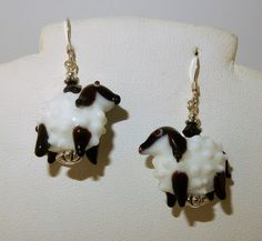 Hand blown glass sheep lamb earrings w/ by celtictreasures on Etsy