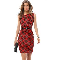 Red Plaid Print Cap Sleeve Peplum Dress ($20) ❤ liked on Polyvore featuring dresses, red, red party dresses, peplum dress, red tartan dress, cap sleeve dress and sexy night out dresses