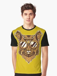 Steampunk Wolf with Goggles T Shirt.  Cool wolf wearing steampunk style mask and accessories.   He looks so handsome with goggles on his large head.  #wolf #goggles #steampunk #victorian #mechanical #vintage #retro #grunge #giftideas #fashion #homedecor #artsandcrafts #stickers #redbubblestickers #redbubble #art #redbubbleshop #ad @giftsbyminuet Red Bubble Stickers, Steampunk Fashion, Chiffon Tops, Grunge, Wolf, Classic T Shirts, Just For You, Handsome, Victorian