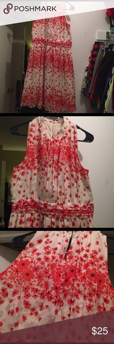 Cream and orange floral modcloth sz l dress Never worn cream and floral dress. Modcloth size large ModCloth Dresses