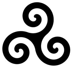 "Triskellion, an ancient Celtic symbol for ""the power of three"". To the druids, it meant earth, sea and sky."
