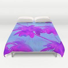 Coconut Palm Trees Tropical Beach Blue Violet Duvet Cover