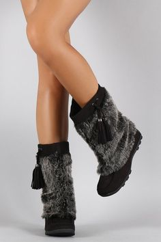 These mid calf boots feature a faux suede upper, soft faux fur shaft, and tassel detail. Flat Boots, Shoe Boots, Women's Shoes, Winter Flats, Suede, Mid Calf Boots, Fashion Week, Online Boutiques, Faux Fur