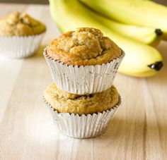 Banana peanut butter oat muffins are made without flour or oil. They're healthy, delicious, and simple to make by mixing in a food processor, or blender.