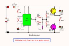 Here are 3 DC polarity tester circuit. Imagine you are repairing a Car, Automobile or motorcycle. And the electrical system in the car is what headache for you. Checking a point a positive, negative, short circuit, open circuit and more. Basic Electronic Circuits, Electronic Circuit Projects, Electronic Schematics, Electronics Projects For Beginners, Electrical Tester, Lie Detector, Hobby Electronics, Positive And Negative, Positivity