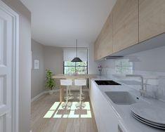 45 veces he visto estas apacibles cocinas abiertas. Home Kitchens, Kitchen Design, Living Room Kitchen, Sweet Home, Small Kitchen, Kitchen Colors, Kitchen Space, Residential Interior, Kitchen