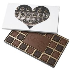 Typed Heart 45 Piece Box Of Chocolates