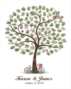 Wedding Tree Guest Book with bicycle built for Two and the flowers - Digital Curly Fingerprint / Thumbprint and Signature Tree for the Wedding Party and Wedding Anniversary.  This Wall Art Design is a unique alternate to a traditional guestbook. Your guests can leaf their thumb print and sign their names to personalized this unique Wedding Tree Poster that you can appreciate for years on your wall..  DIGITAL PRINTABLE JPEG ONLY. NO PHYSICAL ITEM WILL BE SHIPPED  This listing includes: - ...