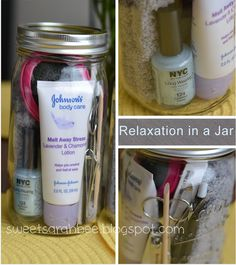 Relaxation in a Jar- nail polish, lotion, socks, hair brush, mirror, nail clippers, mints, eyemask, etc...