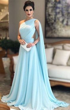 fe78faa5ff7bd One Shoulder Nude Back Long Chiffon Evening Gowns 2018 Prom Dresses M4854