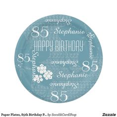 Paper Plates, 85th Birthday Party Blue Floral