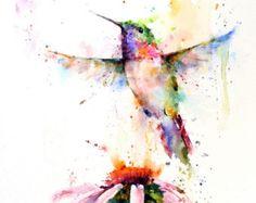 HUMMINGBIRDS Watercolor Print by Dean Crouser by DeanCrouserArt
