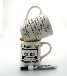Mixed Tape Mug Fun DIY personalized custom gift
