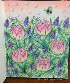 Pink tulips with grape hyacinth used Prismacolor, Polychromos & soft pastel…