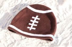 Fleece football hat - SO cute AND, reading the instructions, it probably would only take an hour!