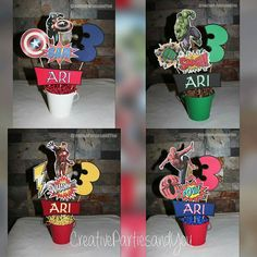 Avengers / SuperHeroes Centerpieces - All Characters / SuperHeroes Decor Centerpiece Kit of 4 Characters Die Cuts each) by CreativePartiesandU on Etsy - Visit to grab an amazing super hero shirt now on sale! Superhero Centerpiece, Avengers Party Decorations, Birthday Party Centerpieces, Hulk Birthday Parties, Superhero Birthday Party, 3rd Birthday, Hulk Party, Power Ranger Birthday, Avengers Superheroes