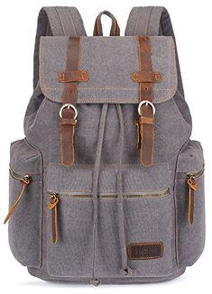 f77e64abae BLUBOON Tela Zaini Vintage Zaino Uomo Donna Unisex Canvas Backpack Rucksack  (Grigio) Borse Da