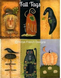 Fall Tags  Painted by Terrye French by PaintingWithFriends on Etsy, $5.00