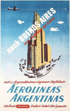Original 1950s Buenos Aires Argentina Air Travel P - by PosterConnection Inc.