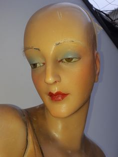 Wow...Antique,WAX bust,art-deco mannequin,flapper girl,WAX head,glass eyes | eBay