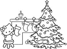 Buon Natale Hello Kitty Coloring Page