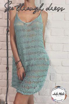 Fishnet Dress, Sheer Dress, Hippie Dresses, Beach Dresses, Mode Crochet, Knit Crochet, Diy Crochet Top, Hand Knitting, Knitting Patterns