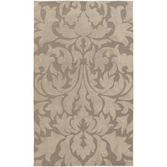 Super soft polyester rug from the Abigail Collection by Surya is glamorous in his large scale damask pattern. (ABI-9004)