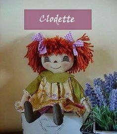 Hoy una nueva muñeca de tela, tipo primitiva, pero en esta ocasión tiene nombre propio, Clodette. Me encanta!!!