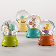 Mini Easter Globes, Set of 4   $15.96   All the little bunnies at your house will jump for joy when you give them our fun Mini Easter Globes to shake up. Sold as an assorted set of four with 2 bunnies and 2 chicks.    ~need one for my daughters Easter Basket