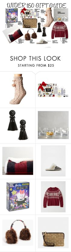 """""""UNDER $50 GIFT GUIDE"""" by tammyleopaldi on Polyvore featuring UGG, Kiehl's, Topshop, Pottery Barn, Express, Schylling, Abercrombie & Fitch, J.Crew and Coach"""