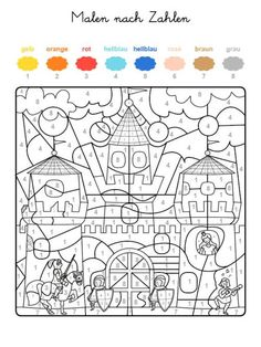 Malen nach Zahlen: Ritterburg ausmalen zum Ausmalen Fall Coloring Pages, Printable Coloring Pages, Coloring Sheets, Coloring Books, Printable Math Worksheets, Kindergarten Worksheets, Color By Numbers, Paint By Number, Activities For Kids