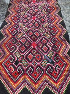 Vintage Hmong Fabric, handmade tapestry textiles, hill tribal fabrics from Thailand. $24.00, via Etsy.