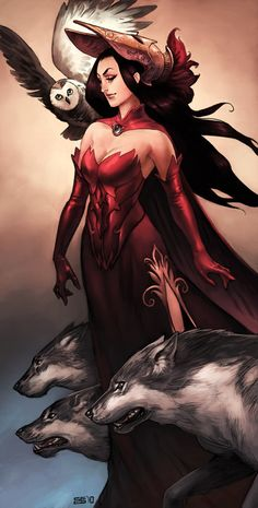 Long red dress, long black hair and wolves. What's not to love?