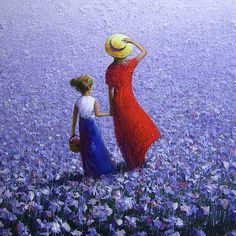 poppy white provence lavender girls sisters by Dima Dmitriev