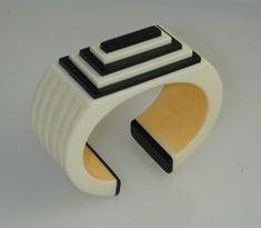 Hand Crafted Bakelite  Maya Cuff Bracelet by JorgeCaicedoMdeOca, $400.00.  www.theartofbakelite.com