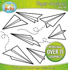 Black Outline Paper Airplane Clipart — Over 15 Graphics!