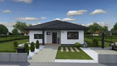 House Front Design, Roof Design, Small House Design, House Layout Plans, House Layouts, Home Building Design, Building A House, House Plans South Africa, Front House Landscaping