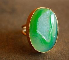 Gold Green Agate Druzy Ring  Honey Dew Green  Green by OhKuol, $69.00