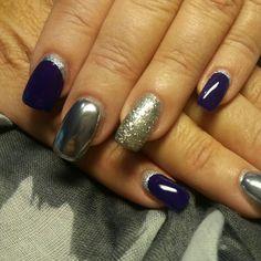 #gel_nails#mirror#glitter#half_moon