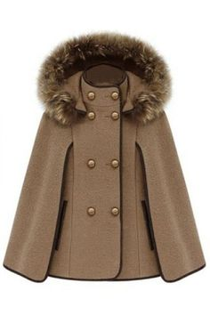 Double Breasted Camel Cape Coat by ROMWE