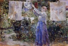 Berthe Morisot - Woman hanging out the wash