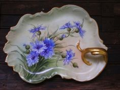 Antique Limoges with Hand Painted Cornflowers