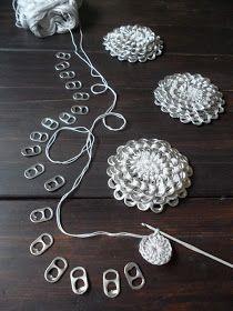 klipsukukka(ro) Crochet flower with aluminum pull tabs