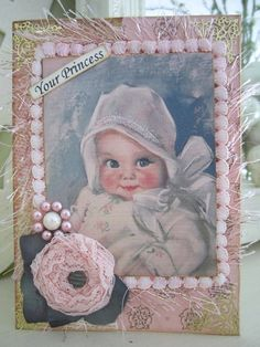 Pink Baby Girl Card Vintagestyle New Baby Card by AvantCarde