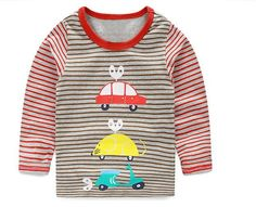 T-shirt Kids Tees Baby Boy brand tshirts Children blouses Long Sleeve 100% Cotton cars trucks stripes free shipping